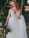 Charming Spaghetti Straps Lace Top Covered Button A-Line Tulle Wedding Dresses, VB03265