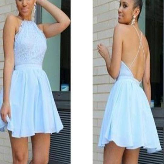 Popular baby blue open back halter sexy unique style freshman homecoming prom dresses,PD0045