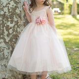 Regular Straps Cute A-Line Tulle Flower Girl Dresses With Hand-made Flowers, Lovely Flower Girl Dresses, Cheap Flower Girl Dresses, PD0115