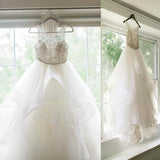 2018 White Long Wedding Dress, Scoop Neckline Beading Asymmetrical Organza Wedding Dresses, PD0132
