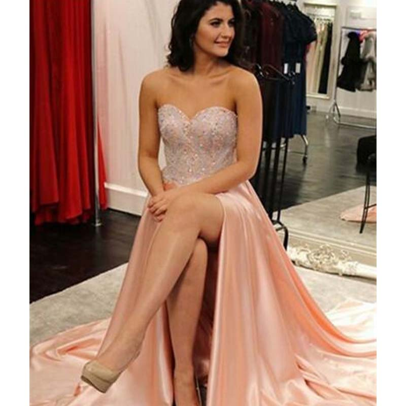 Charming Sweetheart Top Beaded Long A-Line Side Slit Prom Dress, Prom Dresses, PD0347