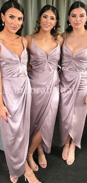 Light Purple Straps Mermaid Side Slit Bridesmaid Dresses, PD01713