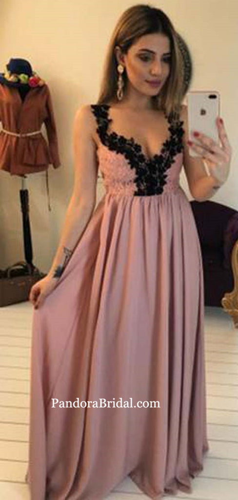 Sexy Dusty Rose Straps Top Lace Long A-Line Prom Dresses, Prom Dresses, PD0557