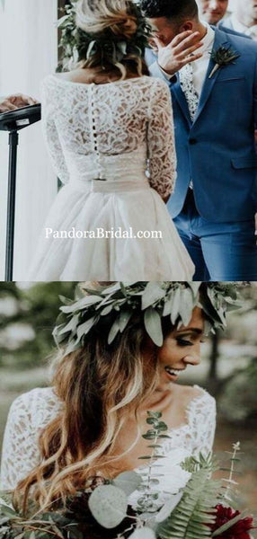 Chic Lace Top 3/4 Sleeves Long Asymmetrical Wedding Dresses, Beach Wedding Dresses. PD0544