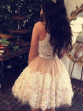 Beautiful Graduation Homecoming Dresses, Two Piece Sleeveless Homecoming Dresses With Appliques, PD0261