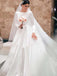 Alluring Bateau Long Sleeve Long A-Line Satin Wedding Dresses, Wedding Dresses Comes With Wedding Veil, PD0788