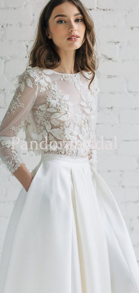 Unique Scoop Neckline Long Sleeve With Appliques A Line Wedding Dresses With Pockets, PD0928