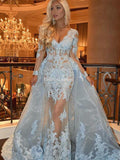 Alluring Baby Blue V-Neck Long Sleeve Mermaid Lace Prom Dresses, VB03017