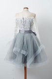 Unique Scoop Neckline Long Sleeve With Lace Short Tulle Homecoming Dresses With Sash, Graduation Homecoming Dresses, PD0584