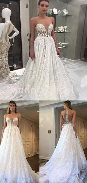 Gorgeous See Through Illusion A-Line Lace Wedding Dresses, VB03363