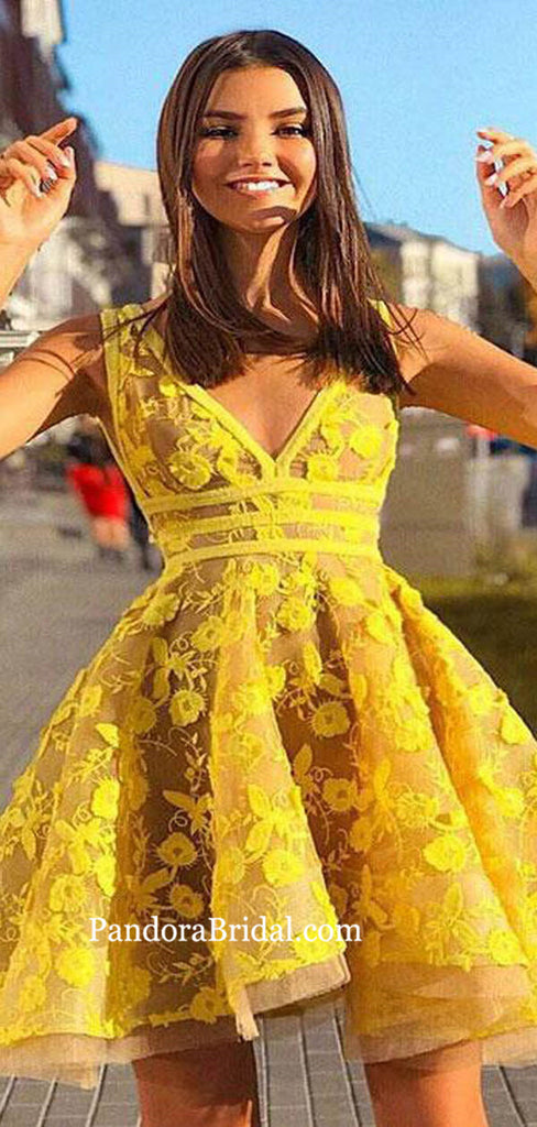 Alluring Yellow V-Neck Short A-Line Homecoming Dresses With Appliques, Homecoming Dresses, PD0736