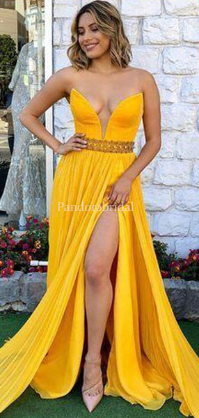 Alluring Deep V-Neck A-Line Side Slit Beading Prom Dresses, VB03400