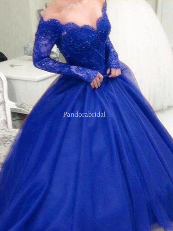 Charming Navy Blue Off Shoulder Long Sleeve Lace Top Beading Ball Gown Prom Dresses, VB03401
