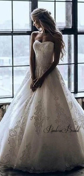 Elegant Sweetheart Covered Button Lace Wedding Dresses, PD01749