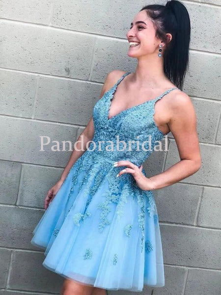 Charming Straps A-Line Tulle Homecoming Dresses With Lace Appliques, VB02648