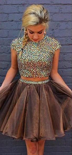 Brown Two Pieces Cap Sleeve Beaded Short Cheap Homecoming Dresses Online, CM583