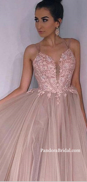 Lovely Dusty Pink Spaghetti Straps Crisscross Back Long A-Line Tulle Prom Dresses With Appliques, Prom Dresses, PD0521