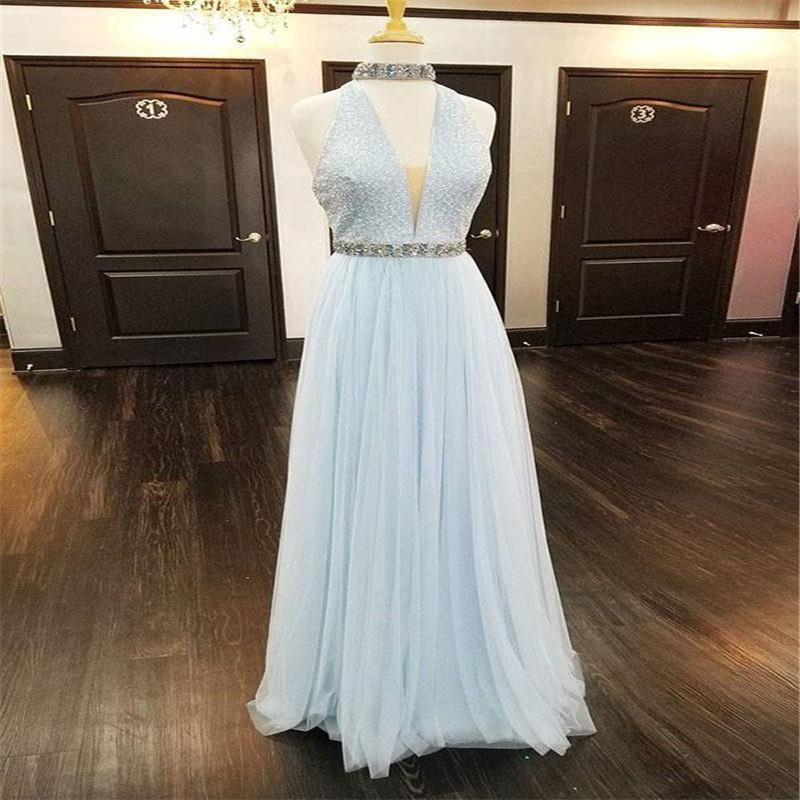 f128ddde7e2 Unique Blue Halter Deep V-Neck Backless Long A-Line Tulle Prom Dresses With