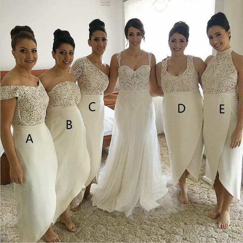 Mismatched Different Styles Ivory Lace Top Newest Design Bridesmaid Dresses, Beautiful Elegant Formal Bridesmaid Dresses, Ankle-Length Bridesmaid Dresses, PD0020