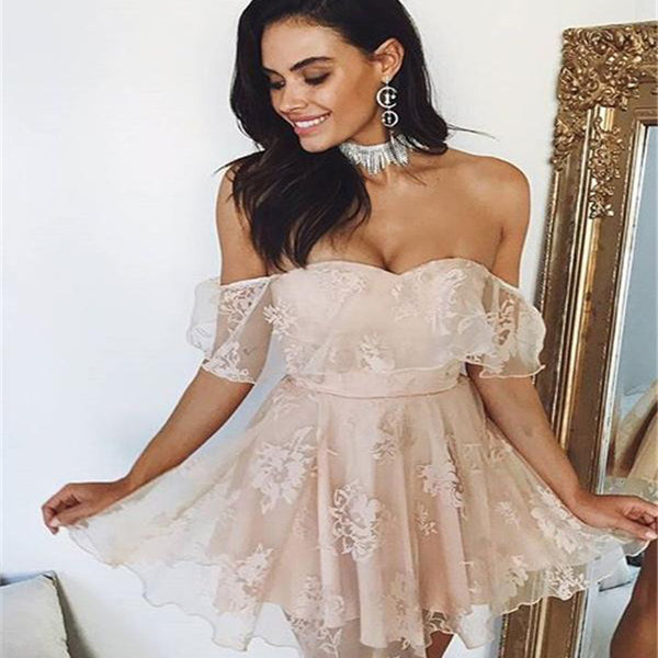 Cute Off Shoulder Lace Short Homecoming Dresses Online, Unique Homecoming Dresses, PD0026