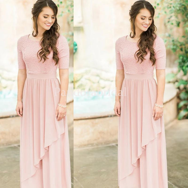 Charming Pink Short Sleeve Lace Top A-Line Bridesmaid Dresses, PD01640