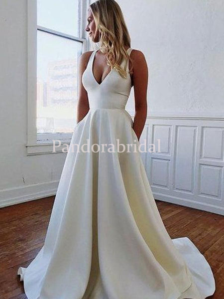Simple Cheap V-Neck With Pockets Satin A-Line Wedding Dresses, PD01726