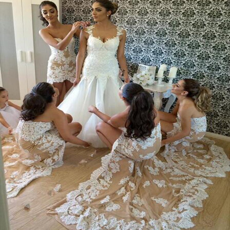 Sexy Sweetheart High Low Mermaid Lace Bridesmaid Dresses, Unique Bridesmaid Dresses, PD0235