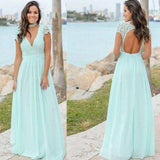 Charming Blue V-Neck Cap Sleeve Lace Top Long A-Line Chiffon Bridesmaid Dresses, Bridesmaid Dresses, PD0447