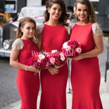 Unique Red Bateau Cap Sleeve With Lace Mermaid Bridesmaid Dresses, PD01733