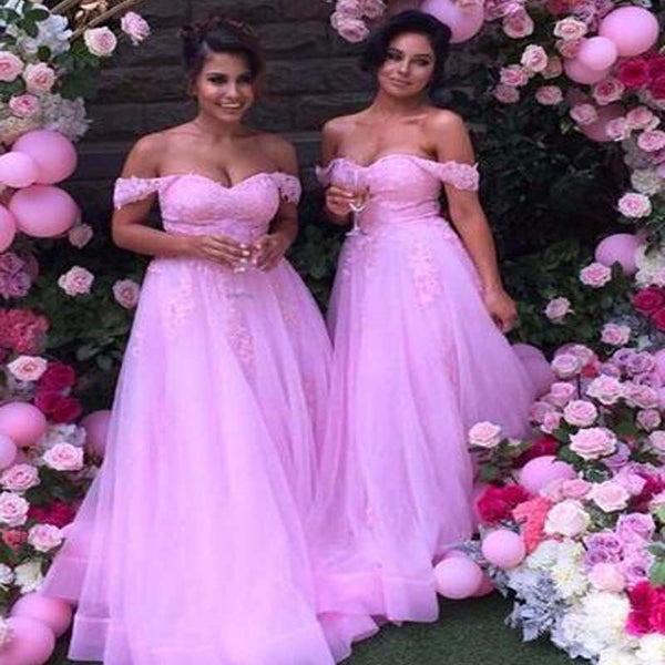 Charming Off Shoulder Long A-Line Tulle With Lace Bridesmaid Dresses, Bridesmaid Dresses, PD0429