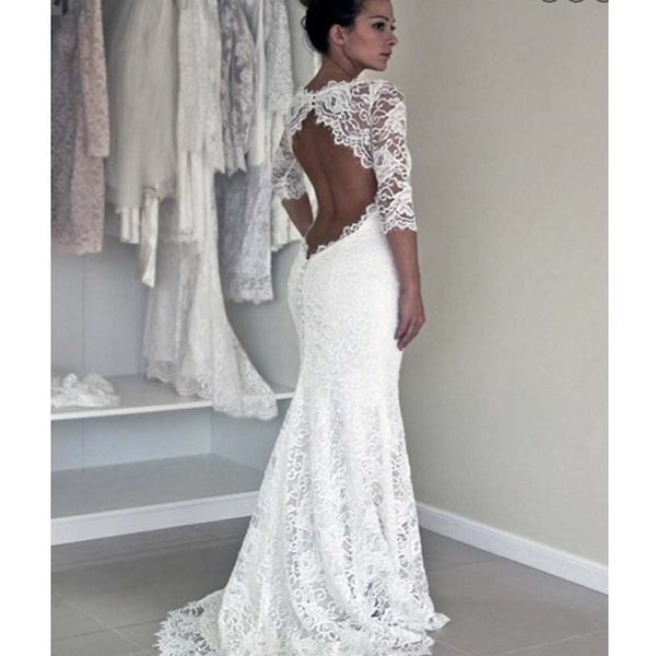 Alluring Illusion Half Sleeve Open Back Mermaid Wedding Dresses, Lace Wedding Dresses, PD0128