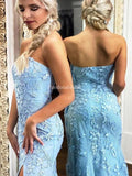 Elegant Blue Strapless Zipper Up Lace Mermaid Prom Dresses, PD01030