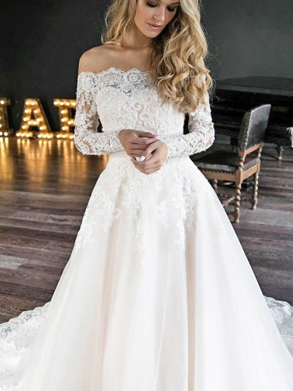 Off Shoulder Long Sleeve Wedding Dresses, PD01785