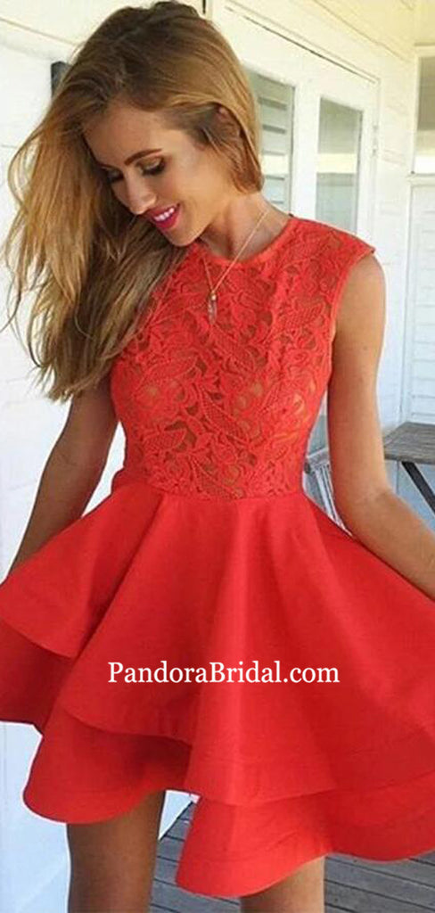 Charming Red Lace Top Layered Homecoming Dresses, Homecoming Dresses, PD0809