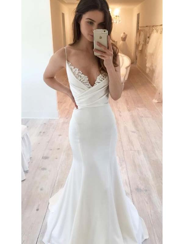 Elegant Spaghetti Straps Long Mermaid Wedding Dresses With Lace, Wedding Dresses, PD0541