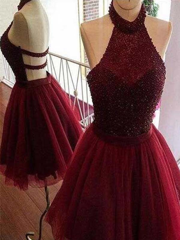 Charming Burgundy Halter Top Beaded Open Back A-Line Homecoming Dresses, Short Tulle Homecoming Dresses, PD0262