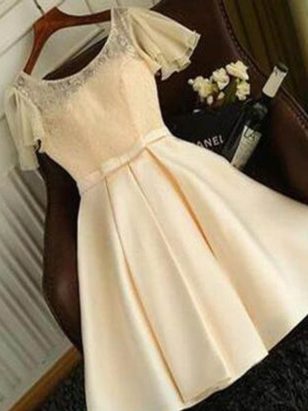 Lovely Baby Yellow Lace Top Short Sleeve Lace Up Short Homecoming Dresses, Homecoming Dresses, PD0740
