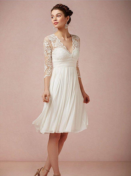 Cheap Long Sleeve Lace Short Beach Wedding Dresses, WD330