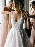 Charming Round Neckline Beading With Appliques Wedding Dresses With Trailing, PD01750