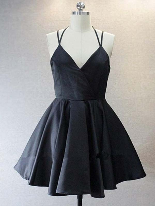 Simple Black Spaghetti Straps Short Homecoming Dresses, Freshman Homecoming Dresses, PD0586