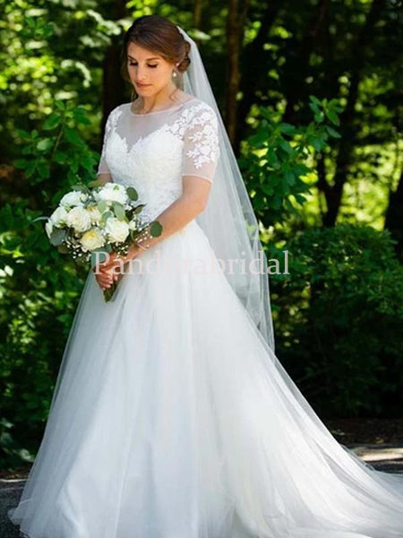 Simple Illusion Lace Top Short Sleeve A Line Tulle Wedding Dresses, PD0930