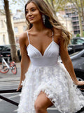 Elegant Spaghetti Straps Short A-Line Homecoming Dresses With Appliques, Homecoming Dresses, PD0708