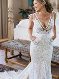 Unique Deep V Neck Lace Mermaid Wedding Dresses With Pockets, PD0931