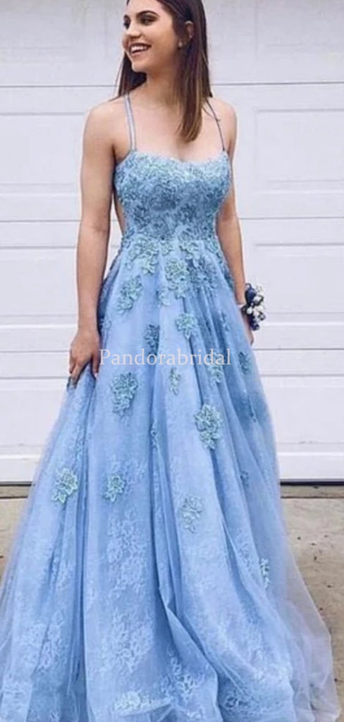 Alluring Blue Spaghetti Straps With Appliques Tulle Prom Dresses, VB03516
