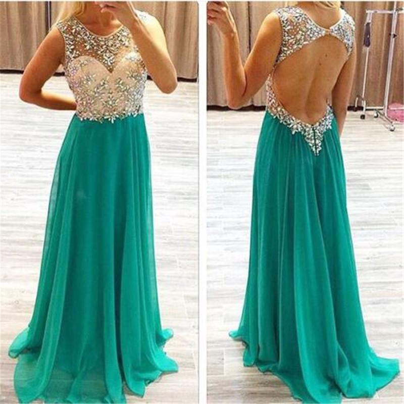 Charming Illusion Top Beaded Open Back Green Chiffon Long Prom Dresses, Elegant Prom Dresses, VB01248