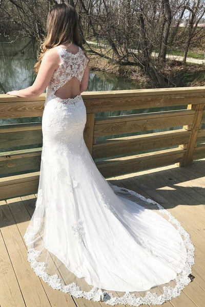 Charming Tulle Bateau Neckline Key Hole Back Mermaid Wedding Dresses With Appliques, Sleeveless Wedding Dresses, PD0664