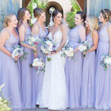 Simple Lilac V-Neck Long A-Line Tulle Bridesmaid Dresses, Bridesmaid Dresses, PD0412