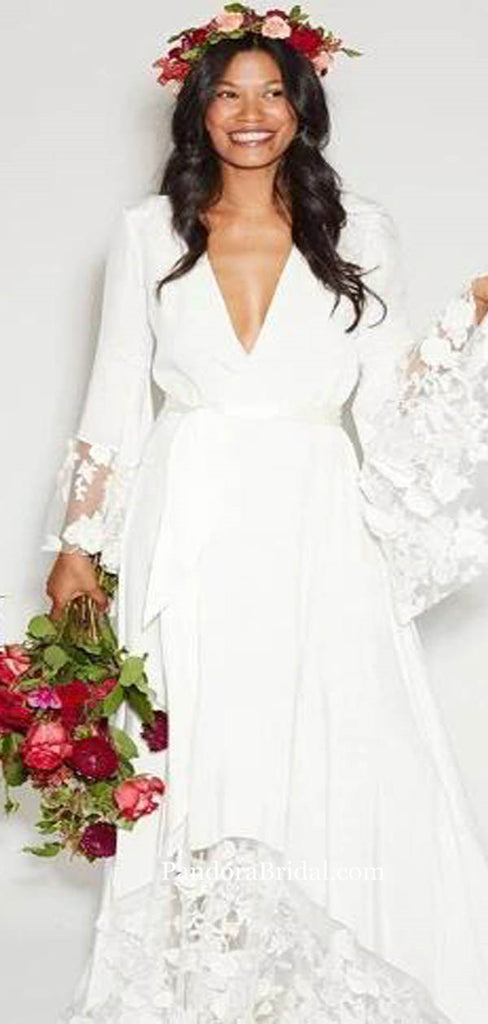 Boho Style V-Neck Long Sleeve With Lace Wedding Dresses, 2019 Wedding Dresses, PD0754