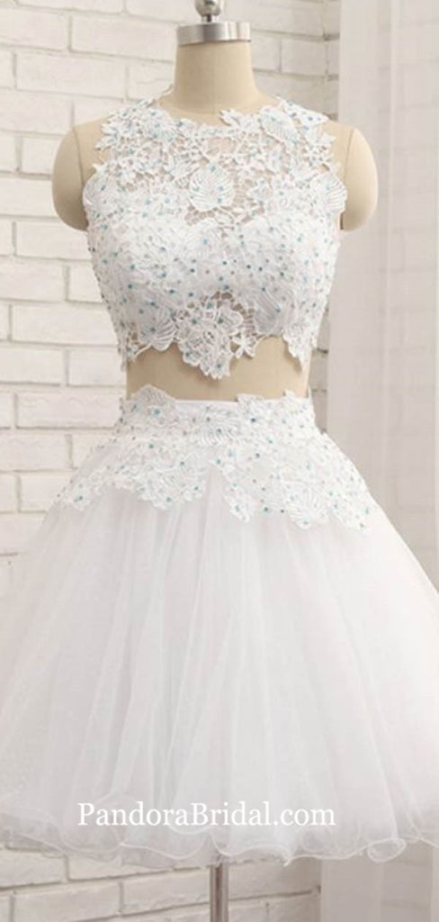 For Teens Illusion Two Pieces Short A-Line Tulle Homecoming Dresses, Homecoming Dresses, PD0618