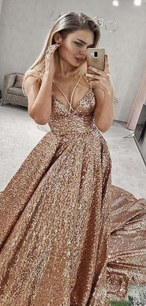 Shiny Spaghetti Straps Crisscross Back Prom Dresses With Trailing, Prom Dresses, VB01978